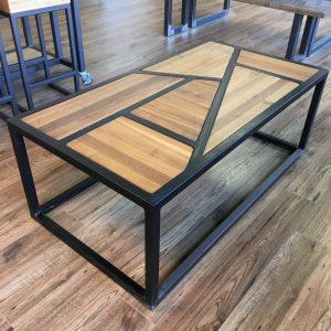 Staalframe salontafel met walnoothout mozaïek