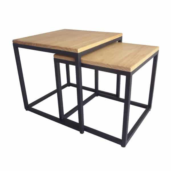 Bijzettafels die in elkaar passen met houten tafelblad