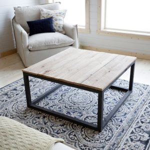 Kokerframe salontafel met houten tafelblad